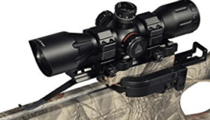 black mounted crossbow scope
