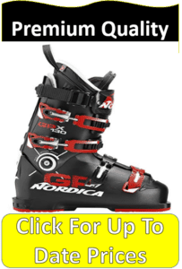 black and red Nordica ski boots