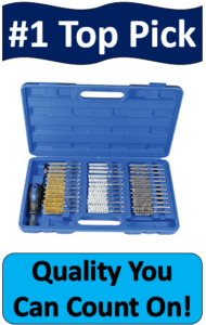 blue case holding gun cleaning brush kit