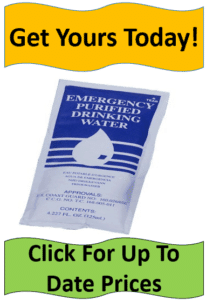 Blue and white emergency water packet