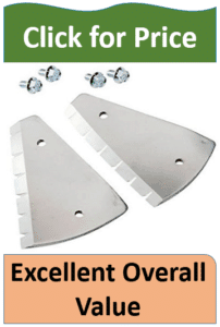 two ice auger blades and silver nuts