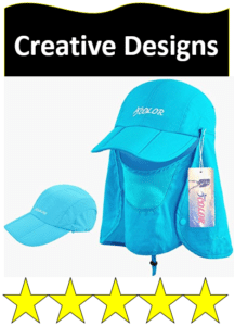 blue hat with flaps
