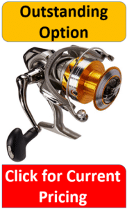 silver and gold aluminum spinning reel