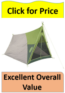 green and grey kelty pup tent