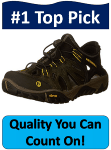 black yellow Merrell hiking shoes