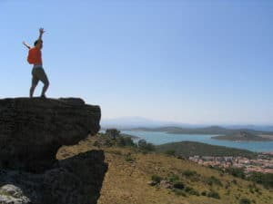victorious hiker
