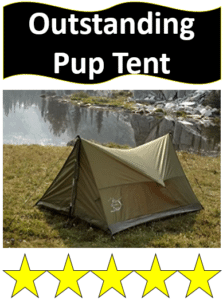 green pup tent by lake with rain fly