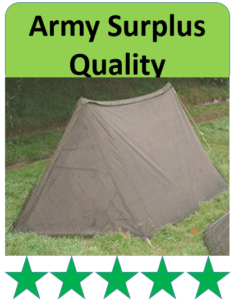 surplus army pup tent on grass