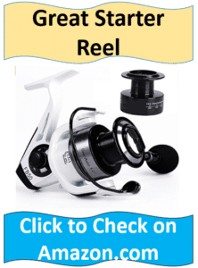 white and black spinning reel