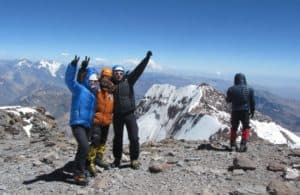 four climbers on Argentine mountain top