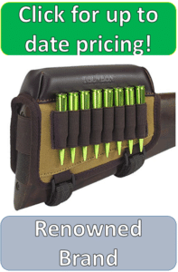 colorful buttstock cartridge holder with eight copper cartridges