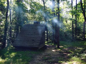 Appalachian trail shelter in woods