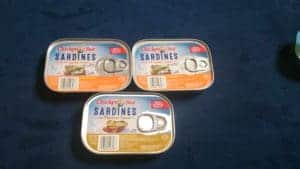 3 tins chicken of the sea sardines