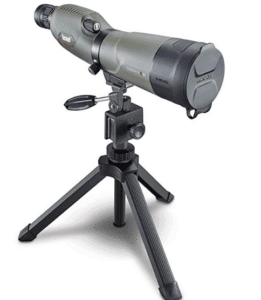 green spotting scope mounted on tripod
