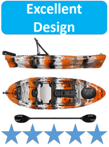 orange and white striped fishing kayak