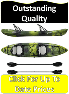 yellowfin Vibe fishing kayak with paddles