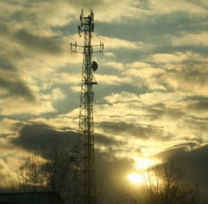 cell phone tower sunset