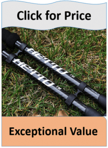 Hetto carbon fiber hiking poles on grass