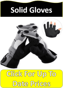 gray black ice fishing gloves