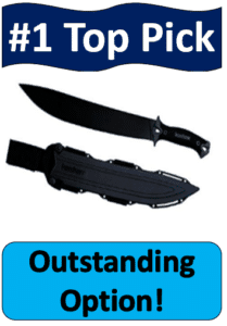 black Kershaw camp machete with sheath
