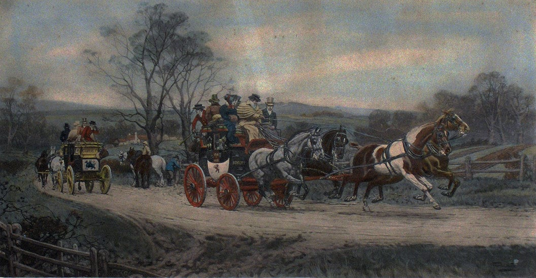 Painting of two passing stage coaches.