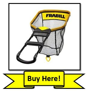 The Frabill Bearclaw fishing net with Yellow Ribbon