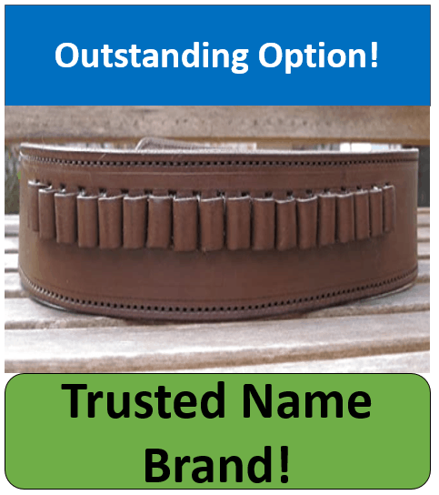 Country Western USA Brown Genuine Leather .45 Caliber Gun Ammo Belt