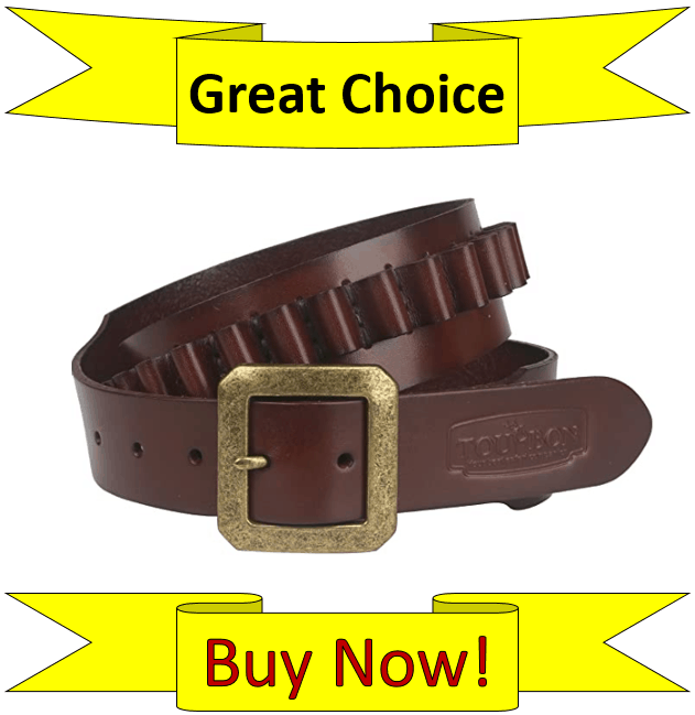 TOURBON Adjustable Leather Bandolier Pistol Cartridge Ammo Belt
